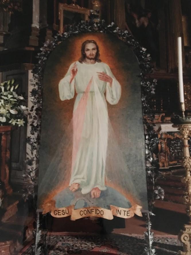 """Quadro con raffigurato la Divina Misericordia con scritta """"Gesù confido in te"""""""